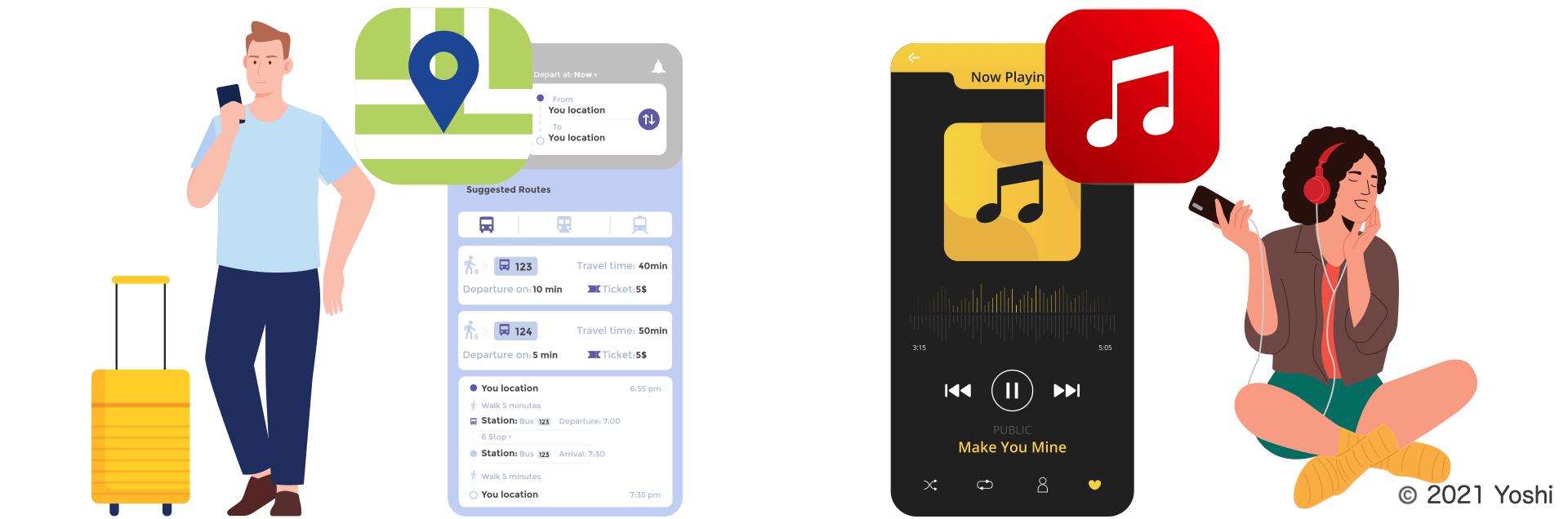 地図アプリと音楽アプリ
